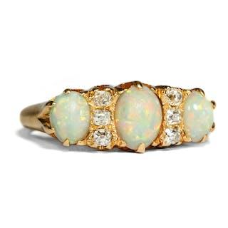 Antiker Opal- & Diamant-Ring in Gold, Großbritannien um 1900