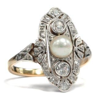 Wunderbarer Art Déco-Ring mit Perle & Diamanten, um 1928