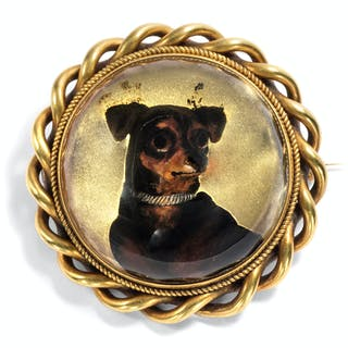 Viktorianischer Essex Crystal eines Terriers als Brosche & Anhänger
