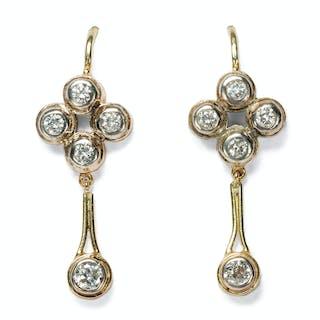 Vintage Diamant-Ohrringe aus antiken Elementen in Gold & Silber