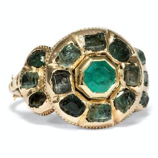 Prachtvoller Gold-Ring mit Smaragden, Spanien um 1680