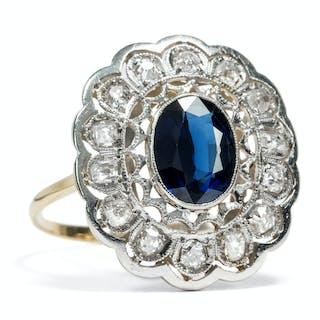 Stattlicher Diamant-Ring mit Saphir in Gold und Platin, um 1910