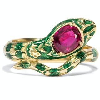 Prächtiger vintage Schlangen-Ring mit Rubin in Gold & Email, 2. H. 20. Jhdt.
