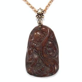 Anhänger aus Jade, Rotgold & Diamanten mit Darstellung des Buddha