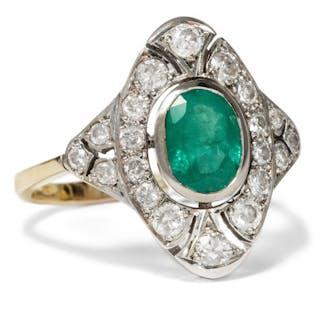 Eindrucksvoller vintage Ring mit Smaragd & Diamanten, England um 1950