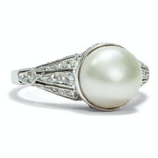 Spektakulärer Platin-Ring des Art Déco mit Naturperle und Diamanten