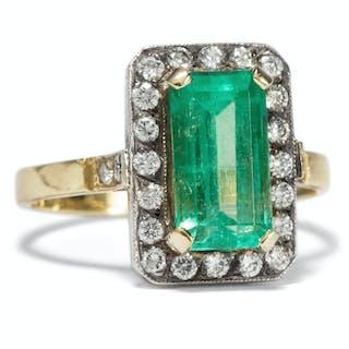 Sinnlicher vintage Smaragd Ring aus Gold & Silber, um 1965