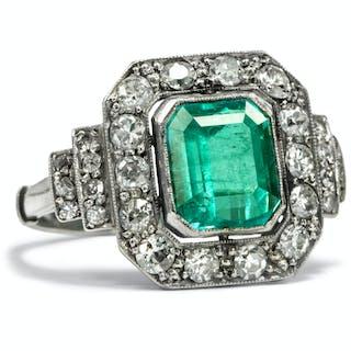 Erstklassiger Platinring mit 2,42 ct Smaragd & Diamanten, Portugal um 1930