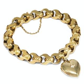 Antikes Goldarmband mit Herz-Medaillon, England um 1890