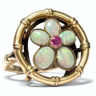 Außergewöhnlicher Gold-Ring mit Rubin & Opalen, um 1900