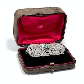 Hochfeine antike Brosche aus Platin mit Smaragd, Diamanten & Naturperlen