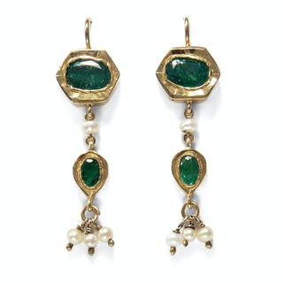 Exotische vintage Ohrringe aus Indien mit Perlen & Smaragden