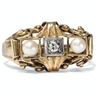 Handarbeit: Eleganter Perlen- & Diamant-Ring in Gold, 1930er Jahre