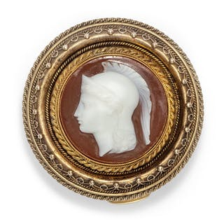 Schal-Clip mit Lagenstein-Gemme der Göttin Athene, um 1870