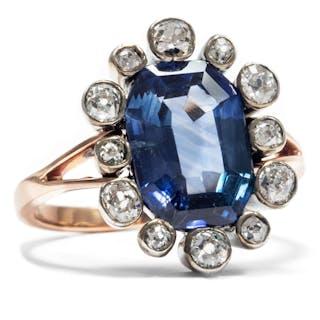 Spektakulärer antiker Ring mit 5.20 ct Saphir und Altschliff-Diamanten, um 1880