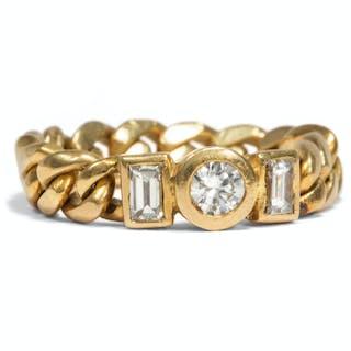 Vintage Ketten-Ring mit Diamanten in Gelbgold, Italien um 1990