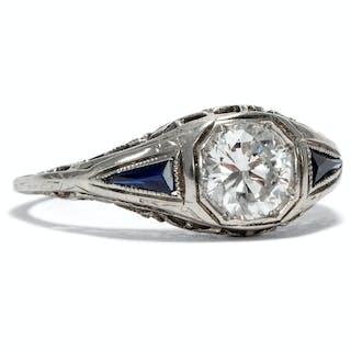 Wunderbarer Art Déco Weißgold-Ring mit 0,68 ct Diamant und Saphiren
