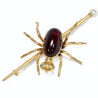 Viktorianische Novelty-Brosche in Form einer Spinne aus Gold & Almandin