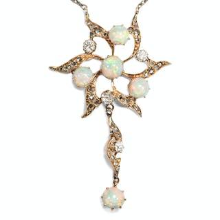 Aufregendes Collier der Belle Époque mit Opalen & Diamanten, England um 1890