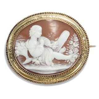 Antike Brosche mit Allegorie der Eitelkeit, um 1860
