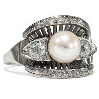 Außergewöhnlicher vintage Weißgold-Ring mit Perle & Brillanten, um 1960