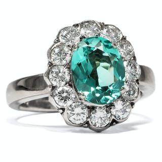 Erstklassiger vintage Ring mit grünem Turmalin & Diamanten, um 1965
