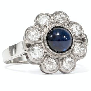 Vintage Entourage-Ring mit Saphir und Altschliff-Diamanten, um 1960