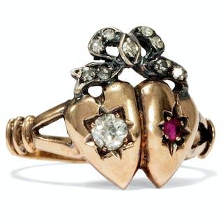 Romantischer Herz-Ring mit Diamanten & Rubin in Gold, um 1880