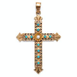Antikes Kreuz mit Türkisen und Naturperle, um 1870