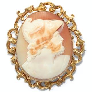 Antike Muschel-Gemme des Menelaos nach griechischem Vorbild in Goldfassung