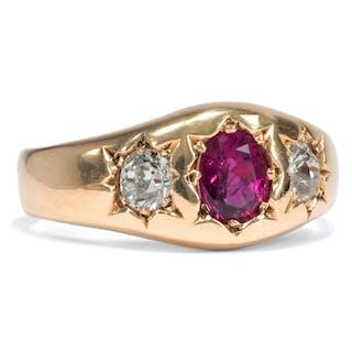 Viktorianischer Gypsy-Ring mit Rubin & Diamanten, datiert 1892
