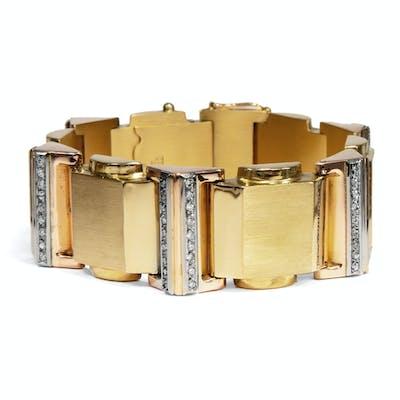 Phänomenales Gold- & Diamant-Armband des Art Déco, um 1940