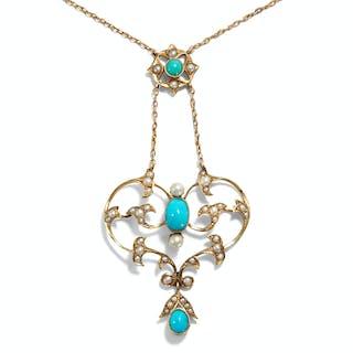 Goldenes Collier mit Türkisen und Perlen, Großbritannien um 1900