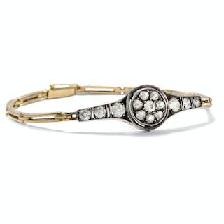 Antikes 0,70 ct Brillant-Armband der Belle Époque in Gold & Silber, um 1905