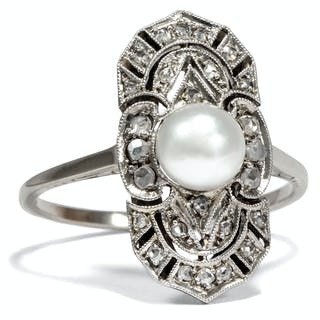 Wunderbarer Art Déco Ring mit Naturperle & Diamanten, um 1920