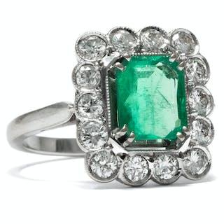 Vintage Smaragd-Ring mit Brillanten in Weißgold, Frankreich um 1960