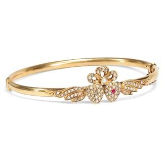 Romantischer Gold-Armreif mit Rubin, Diamant & Naturperlen, um 1895