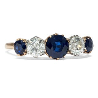 Antiker, englischer Goldring mit Saphiren & Diamanten, Edwardian um 1910