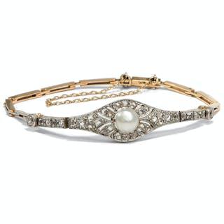 Feines Armband der Belle Époque mit Naturperle & Diamanten, um 1910