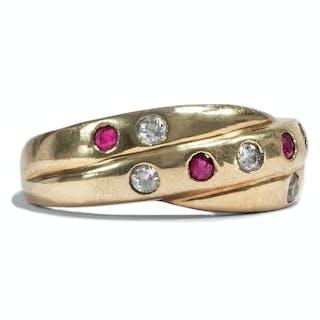 Hübscher vintage Goldring mit Rubinen & Diamanten, 1950er Jahre
