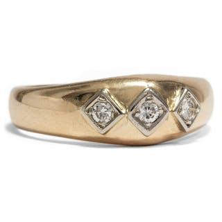 Eleganter vintage Trilogie-Ring mit drei Brillanten, 1950er Jahre