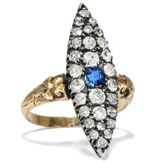 Großer antiker Gold- & Silber-Ring mit Saphir & Diamanten, um 1890