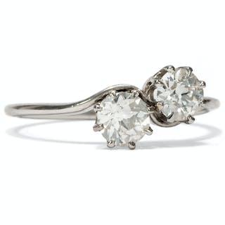 Zauberhafter Toi-et-Moi Ring der Belle Époque mit Altschliff-Diamanten