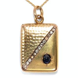 Kostbarer Medaillon-Anhänger mit Saphir & Diamanten in Gold, Frankreich um 1895