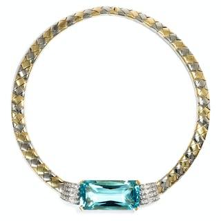 Vintage Collar-Collier mit phantastischem 75ct Aquamarin & Diamanten