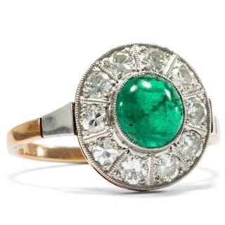 Eleganter Smaragdring mit Diamanten in Platin & Gold, Deutschland um 1925