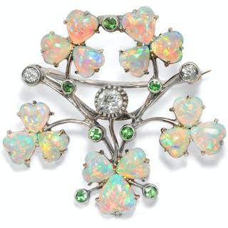 Antike Opal- & Diamant-Brosche/Anhänger, um 1895