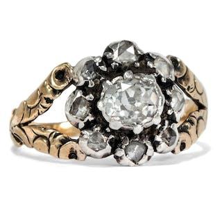 Außergewöhnlicher Diamant-Ring in Gold & Silber, Großbritannien um 1830