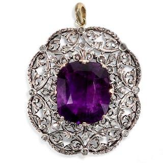 Antiker, großer Amethyst-Anhänger mit Diamanten der Belle Époque