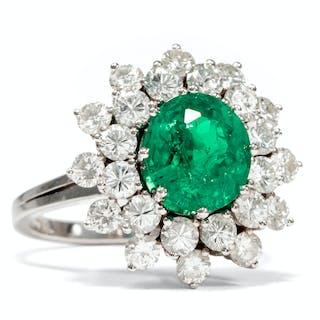 Luxuriöser Entourage-Ring mit Smaragd & Diamanten, um 1970